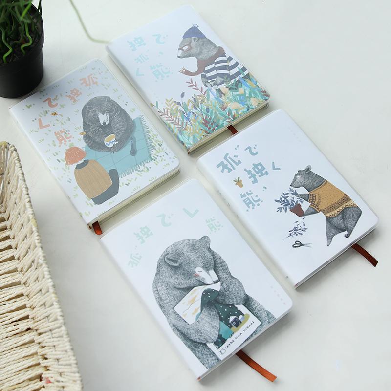 韩国创意文具 手账本 可爱卡通小本子 学生文具 学习用品 白梦胶套手